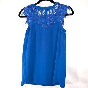 Brixon Ivy Tops - Cobalt Blue Blouse with Lace Detail